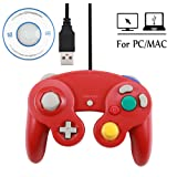 Mekela 5.8 feet Classic USB Wired NGC Controller Gamepad resembles Gamecube for Windows PC MAC (USB Red) (Color: 1 pack USB Red)