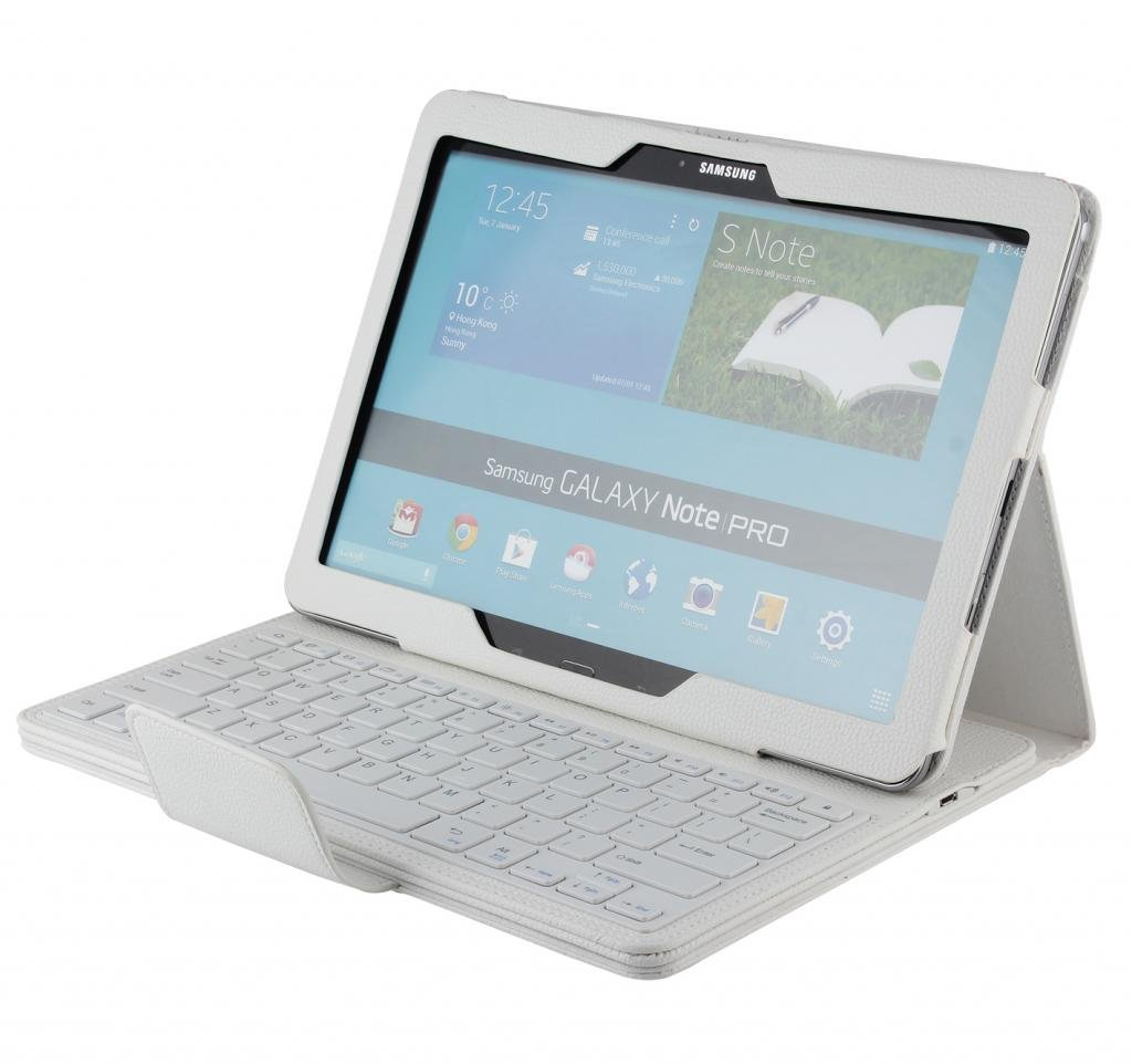 PASONOMI Portfolio Wireless Bluetooth Keyboard for Samsung Galaxy NotePRO SM P900 & TabPRO 12.2 inch SM T900 T905 Android Tablet Color Whitereview and more description