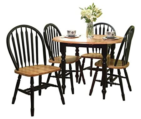 Cottage Dining Set Double Drop Leaf Table and 4 Arrow Back Chairs Black and Natural Wood