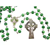 CB Celtic Green Bead Rosary with Miraculous Medal Centerpiece and Crucifix and Saint Patrick Irish Blessing Prayer Card