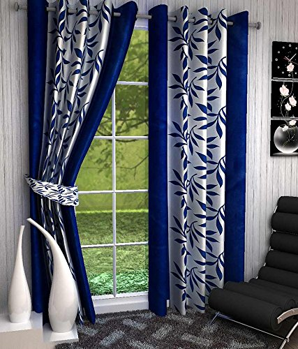 GeoNature Polyester Window Blue Kolaveri Curtains set of 2 Size (4x5Feet) G2CR5F-114