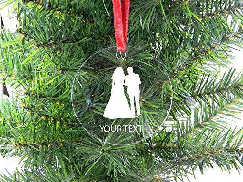 Personalized Custom Married Couple, Newlyweds Clear Acrylic Hanging Christmas Tree Ornament with Red Ribbon Perfect Holiday Gift! Contact Seller for Custom Text or Leave a Gift Message at Checkout!