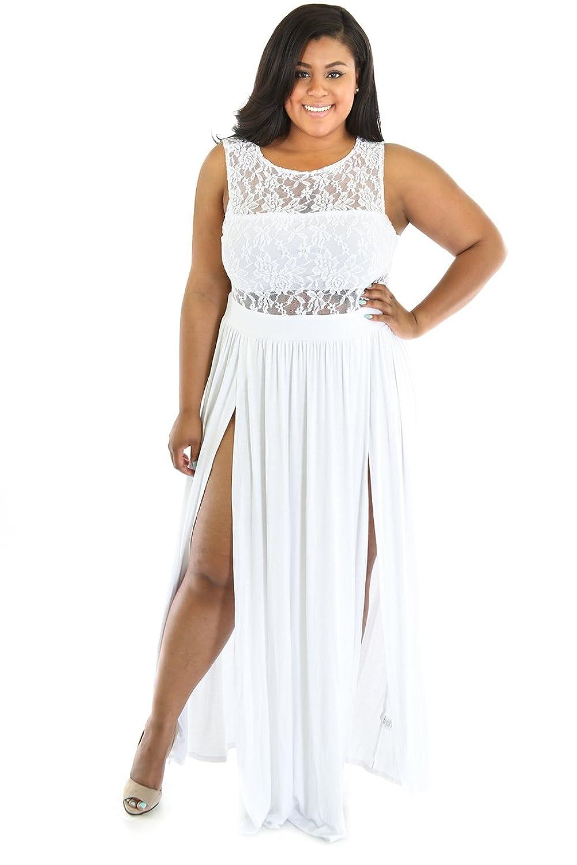 ce80e43e3fe Rekais Sexy Plus Size Reign Maxi Dress XXL Size (white) at Amazon Women s  Clothing