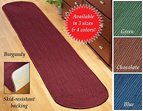 Extra Long Solid Braided Rug Runner Green 20