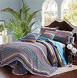gardenlightess ベッドカバー キルト ベッドスプレッド ソファーカバー ケイーン キング用 3点セット 100%綿 ブルー