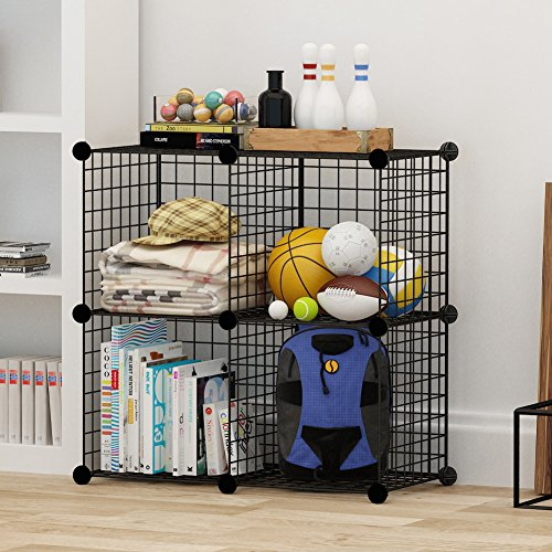 4 Storage Cubes by COSYHOME, 4 Wire Grids Cube Closet Organizer Shelf Cabinet Bookcase Black (Cube Storage Display compare prices)