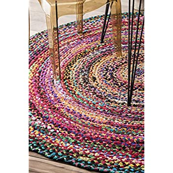 Casual Handmade Braided Cotton Round Area Rug