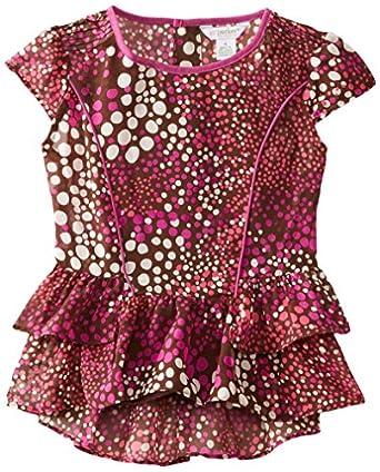 kc parker Little Girls'Little Girls' Chiffon Ruffle Hem Top, Brown/Multi, 4