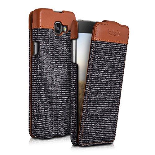 kalibri-Flip-Case-Hlle-Emma-fr-Samsung-Galaxy-A5-2016-Aufklappbare-Stoff-und-Echtleder-Schutzhlle-Tasche-im-Flip-Cover-Style-in-Braun-Anthrazit