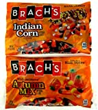 Brachs Candy Cornucopia: One 11 oz Bag of Indian Corn Candy and One 11 oz Bag of Mellowcreme Candy Autumn Mix in a Gift Box
