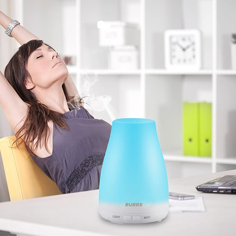 Aromatherapy Essential Oil Diffuser - 100 ml Ultrasonic Humidifier with Silent Cool Mist Aroma - 7 LED Colors, Auto Shut-Off Adjustable Mist Modes to Freshen and Fill Air with Scent via Amazon
