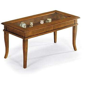 Tavolino con vetro apribile a ribalta, stile classico, in legno massello e mdf con rifinitura in noce lucido - Mis. 100 x 50 x 47