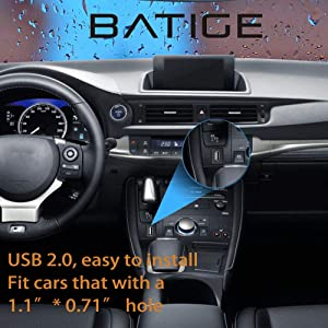 BATIGE Square Single Port USB 2.0 Panel Flush Mount Extension Cable with Buckle for Car Truck Boat Motorcycle Dashboard 6ft (Tamaño: USB 2.0 6ft)
