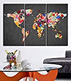 TANDA Canvas Print WORLD MAP Gray Background Watercolor World Map 3 Piece Ready to Hang Colorful Mix World Map (Each Panel : 35x70 cm)