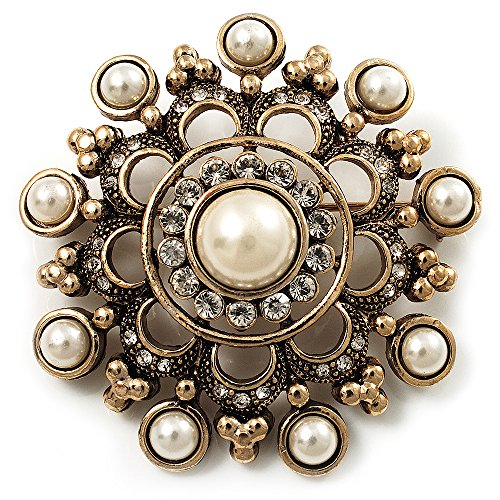 Antique Gold Filigree Simulated Pearl Corsage Brooch 0