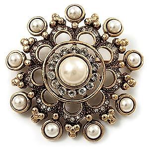 Amazon.com: Antique Gold Filigree Simulated Pearl Corsage