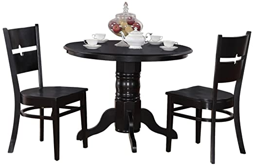 East West Furniture SHRO3-BLK-W 3-Piece Kitchen Table Set, Black Finish