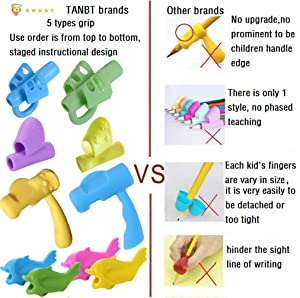 Pencil Grips, Tanbt Pencil Grips for Kids Handwriting Preschool Writing Aid Grip Training Finger Grip for Pencil Kids Toddler Beginners Kindergarten Writing Posture Correction Tools (Color: Pencil Grips(10 Pcs), Tamaño: Large)