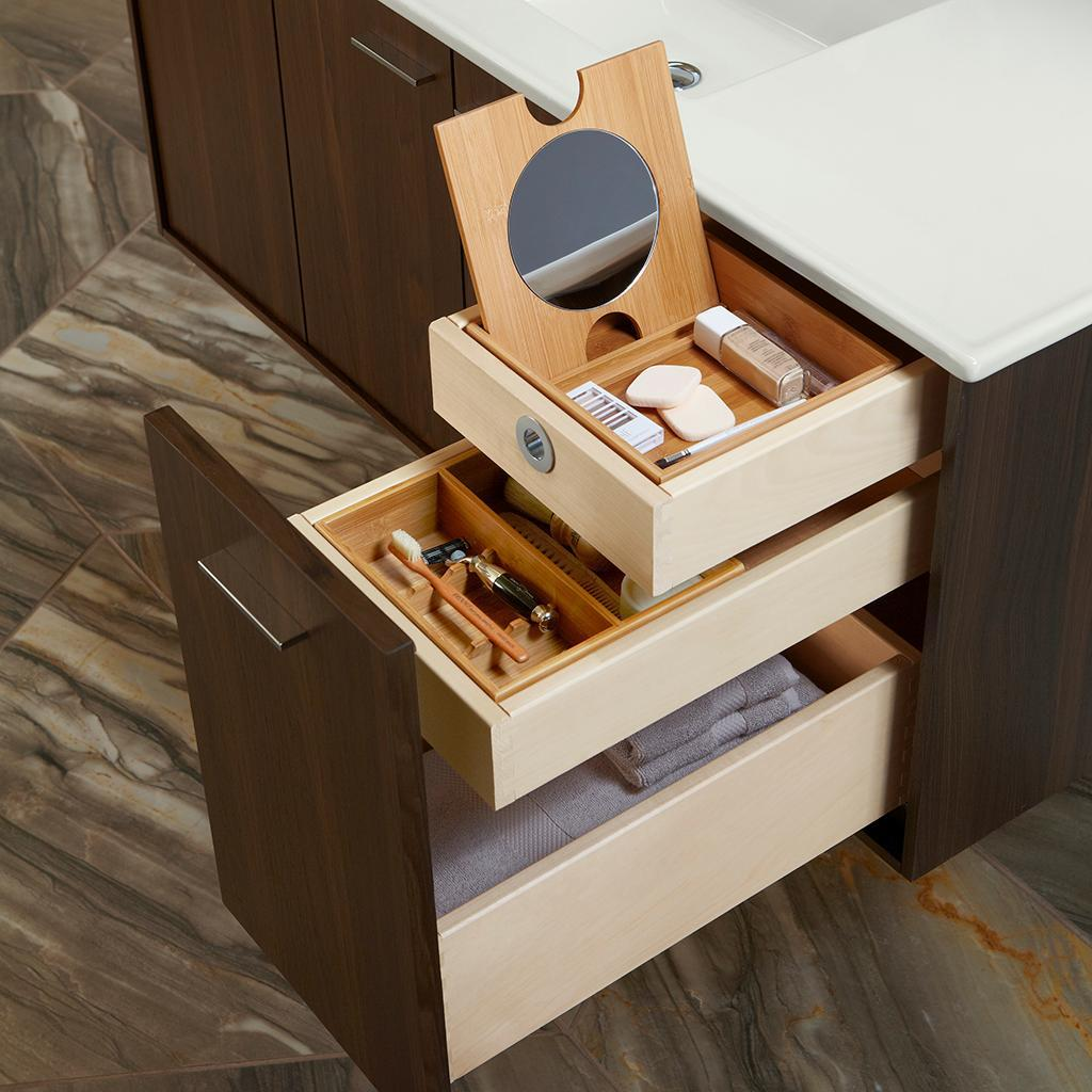 Optional split top drawers and added accessories let you customize how