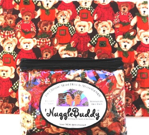 "'Nugglebuddy Microwavable Moist Heat & Aromatherapy Organic Rice Pack. ""Teddies"" Fabric With Cinnamon Spice Aromatherapy"