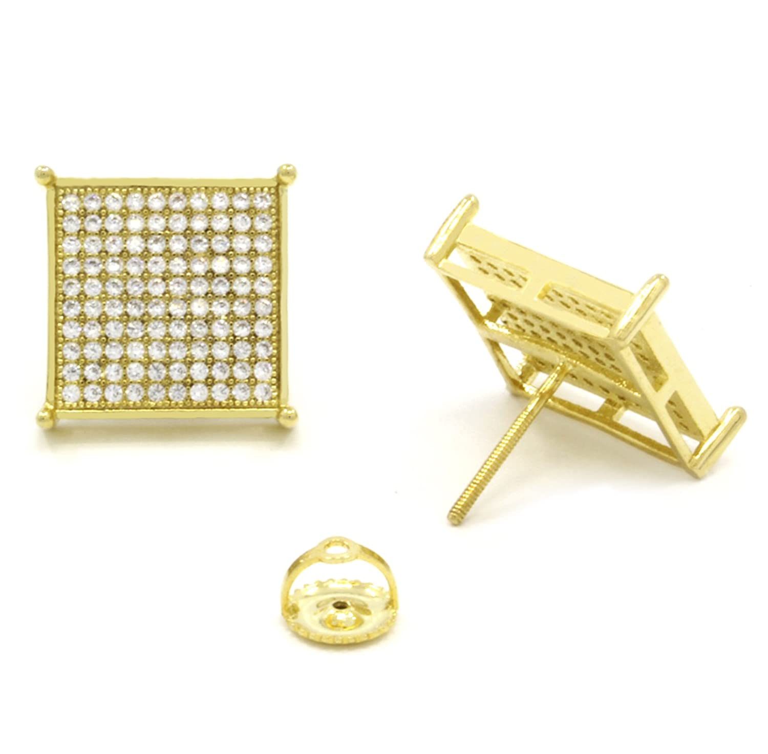 Out Square Stud Earrings Gold Square Stud Earrings