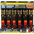CargoLoc 89977 1-Inch x 15-Feet x 1500-Pound Ratchet Tie Down with S-hooks, 6-Piece