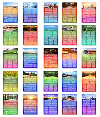 US STATE FUN FACTS Postcard Set Of Postcards United States - United states trivia