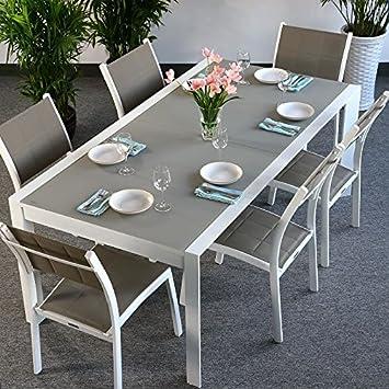 Violet Tisch & 6 Stuhle - WEIß & CHAMPAGNERFARBEN | Gartenmöbel-Set mit ausziehbarem 300cm Tisch