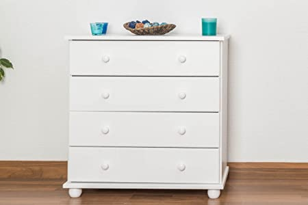 Dresser solid pine wood painted white Junco 138 - Dimensions 82 x 80 x 42 cm