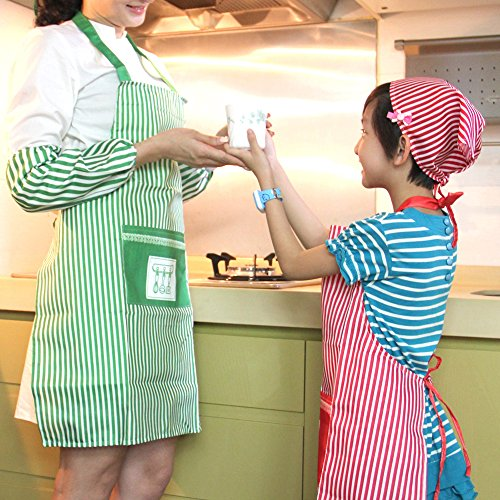 3-Pack Kitchen Fashion Apron for Girls with Pockets (Green/Red/Yellow), NO BAD SMELL, Best Gift Ideas for kids, by Lynnwang Design