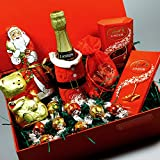 Lanson Champagne and Lindt Chocolate Christmas Gift Box -Lanson Champagne bottle with Santa jacket, Lindt Santa, Gold Bear, Lindor Truffles and Bar Hamper - By Moreton Gifts