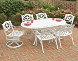 Home Styles 5552-3358C Biscayne 7-Piece Dining Set Table with 6 Cushioned Chairs, White Finish, 72-Inch