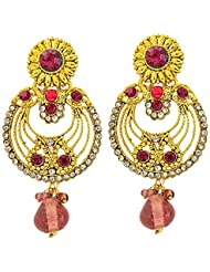 Surat Diamonds Trendy Pink & White Coloured Stone & Gold Plated Floral Round Shaped Chandbali Earrings For Women...