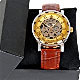 Exceptional Golden Transparent Skeleton Brown Leather Mechanical Men Wrist Watch