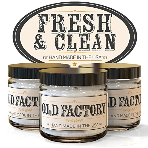 Best Scented Candles by Old Factory Candles FRESH & CLEAN set of 3: Lemongrass, Olive Blossom, Fresh Linen – Choose Your Fragrance Theme Below