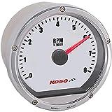 Koso BA035103 White/Chrome TNT-01R Tachometer (8 000 RPM)