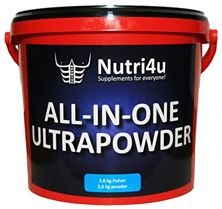 Nutri4u ALL-IN-ONE-ULTRAPOWDER, Himbeere, Protein-Kreatin-Kohlenhydrate (1 x 2,6 kg)