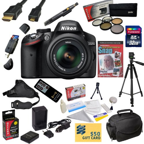=>>  Nikon D3200 Digital SLR Camera with 18-55mm NIKKOR VR Lens With Must Have Accessory Kit - Includes 32GB High-Speed SDHC Card + Card Reader + Extra Battery + Travel Charger + 5 Piece Pro Filter Kit (UV, CPL, FL, ND4 and 10x Macro Lens) + HDMI Cable + Padded Gadget Bag + Remote Control + Professional 60