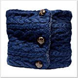 手袋プレゼント あったかい 裏ボア 裏起毛 選べる 4色 フロントボタン ミックス サイドケーブル ニット ネックウォーマー ネイビー