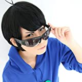 Unisex Anime Cosplay Wig Short Straight Black Hair Synthetic Party Wigs with Free Cap (Karamatsu Matsuno)