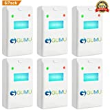 GUMU [NEW 2018] Ultrasonic Pest Repeller (6-Pack) - Indoor Plug-In Repellent, Ultrasound & Electronic | Insects Anti Mice Rats Rodents Bugs Ants Mosquitos Spiders Roaches - Child & Pet Safe Control