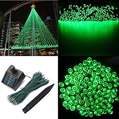1Pc Finest Popular 200x LED Solar Power Nightlight Xmas Props Garden Lawn Waterproof Gift Colors Green