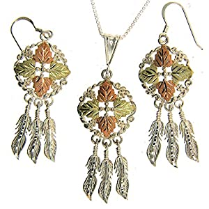 Beautiful! Sterling-silver Yellow-gold Black Hills Gold Dream Catcher Dangle-earrings & Pendant 30 Inch