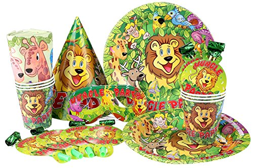 Crystallove Funny Paper Assortments Party Supplies Pack Including Birthday Hats Plates Cups Napkins Eyepatchs and Horns Favor Set of 36pcs (jungle party)