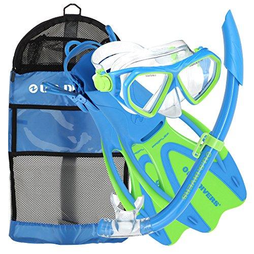 us-us-divers-dorado-childrens-kids-snorkel-set-4pc-mask-snorkel-fins-bag