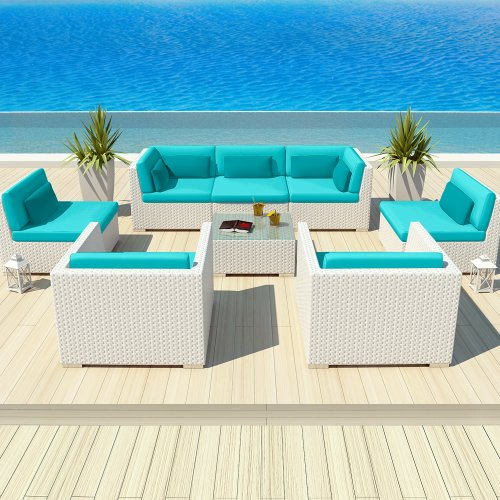 Uduka Outdoor Patio Furniture White Wicker Set Daly 8 Turquoise All Weather Couch photo