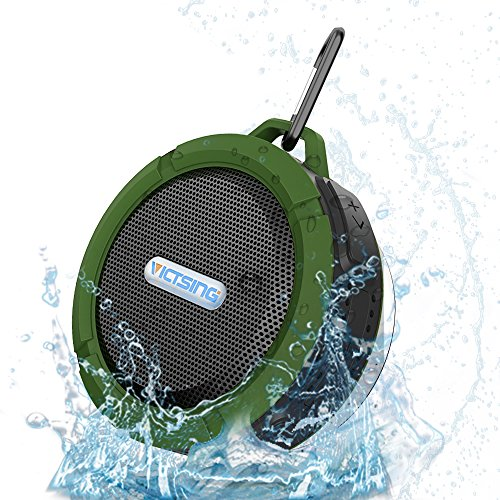 VicTsing Wireless Bluetooth 3.0 Waterproof Outdoor & Shower Speaker with 5W Speaker/Suction Cup/Mic/Hands-Free Speakerphone - Army Green