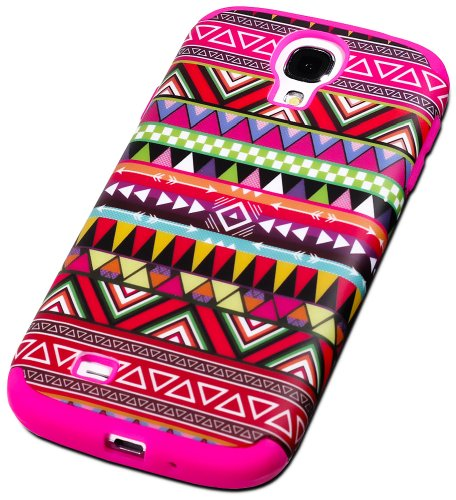 "Mylife (Tm) Rose Pink - Tribal Design (3 Piece Hybrid) Hard And Soft Case For The Samsung Galaxy S4 ""Fits Models: I9500, I9505, Sph-L720, Galaxy S Iv, Sgh-I337, Sch-I545, Sgh-M919, Sch-R970 And Galaxy S4 Lte-A Touch Phone"" (Fitted Front And Back Solid Cov"