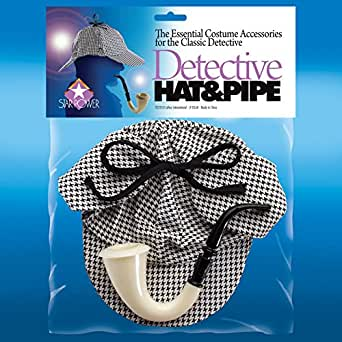 Star Power Detective Hat And Pipe 2pc Accessory Kit Grey One Size