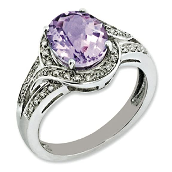 Sterling Silver Rough Diamond and Oval Pink Quartz Ring - Ring Size Options Range: J to T